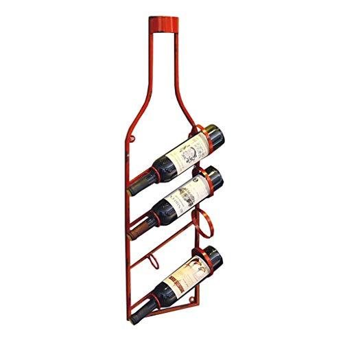 WYZXR Capacidad para 4 botellas de vino montadas en la pared, soporte para botellas de vino, metal hierro y vino, estantes de almacenamiento, estilo vintage, barra creativa, color rojo