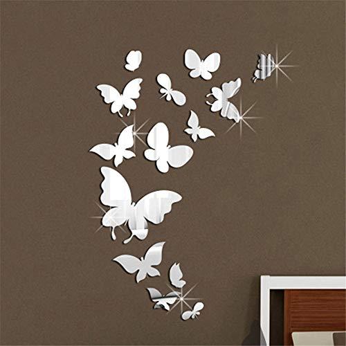 3D Sticker Mural diy Reflective Wall Stickers Cartoon Gold Silver 14 Butterflies Mirror Wall Stickers Butterflies,14 Butterflies - Silver