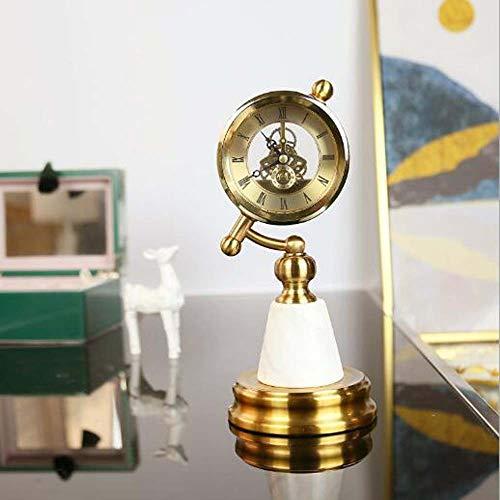 KK Zachary Modelo europeo de decoración para el hogar adornos creativos reloj de mesa péndulo relojes de escritorio conjuntos de péndulo de hueso (6 pulgadas)
