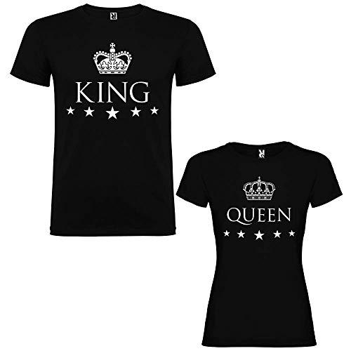 Pack de 2 Camisetas Negras para Parejas, King y Queen, Blanco