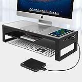 Vaydeer 2 Tiers Wireless Charging Monitorständer mit 4 USB 3.0 Hubs Aluminium Monitor Stand...