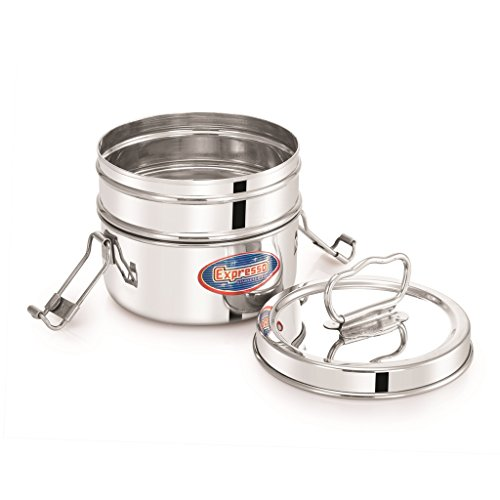 Expresso Stainless Steel Food Carrier Lunch Box with 2 Small Container (Silver)