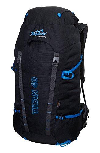 Tashev Outdoors Titan Trekkingrucksack Wanderrucksack Damen Herren Backpacker Rucksack groß 40L in vielen Farben (Hergestellt in EU) (Schwarz & Blau)