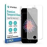 smartect Cristal Templado para Móvil iPhone SE 2016/5 / 5s / 5c [2x MATE] - Protector de pantalla 9H - Diseño ultrafino - Instalación sin burbujas - Anti-huella