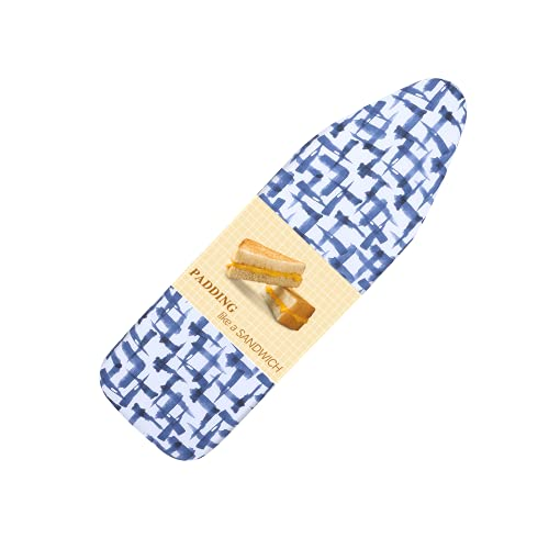 BNDX Ironing Board Cover, 15' x 54' Standard Size 4 Layers Thick Padding with 2' Elastic, Stain Resistant & Durable Scorch, 2 Click Buckles for Smooth...