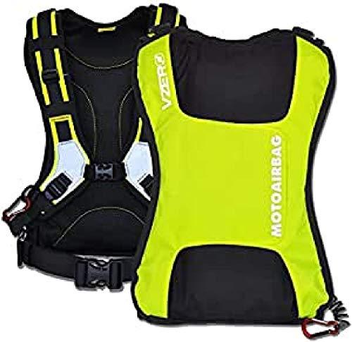 Motoirbag protettore dorsale Vzero Fluo, giallo fluo, volume totale 25 l, 1 pezzo con 5 articoli