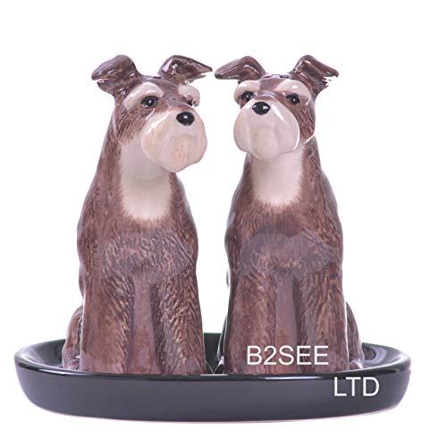 b2see Salz und Pfefferstreuer Tiere Schnauzer Hunde Geschenk Geschirr Set Keramik 3 teilig ca 13 x 10 cm