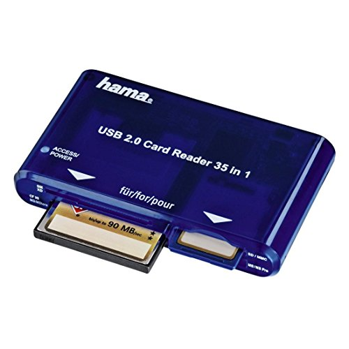 Hama Kartenleser USB 2.0 - 35-in-1 (Kartenlesegerät, Card Reader SD/SDHC/SDXC, CF, microSD/SDHC/SDXC, USB 2.0) blau