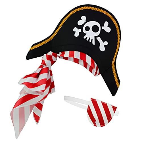 Sombrero pirata Parche en el ojo para niños disfraz de capitán caribeño y adolescentes