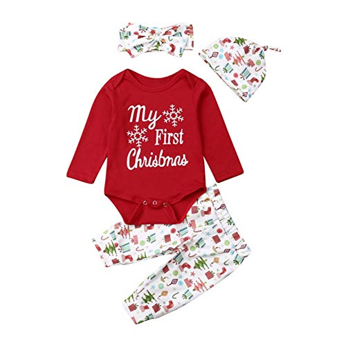 Miyanuby Barboteuse Bébé Fille My First Christmas Body en Coton Ensemble de Vêtements Pantalon avec Chapeau Bandeau