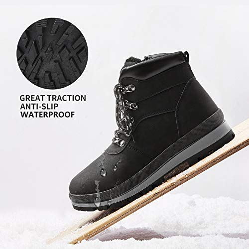 FRACORA Women's Winter Combat Boots Lace up Anti-Slip Hiking Boots Warm Fur Lined Outdoor Walking Ankle Booties(Black.US9)
