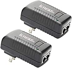 48V POE Injector, iCreatin 2-Pack 15.4W Power Over Ethernet Adapter Supply 802.3af for Most Cisco Polycom Aastra Ubiquiti, Unifi Cameras, IP Phones, 10/100M