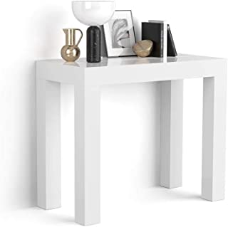 MOBILI FIVER, Table Console Extensible, First, Blanc laqué Brillant, 90 x 45 x 76 cm, Made in Italy