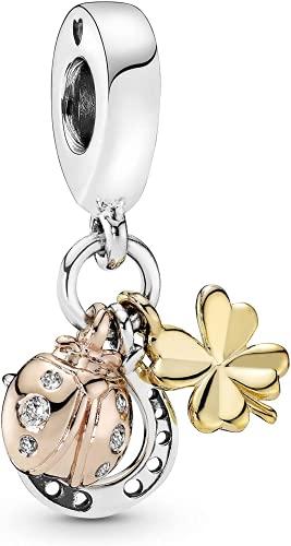 LaMenars Nature Clover Fireflies Ladybug Flamingo Ladybug Charm para pulseras Colgantes de plata 925 Cuentas para collares Cuelga para el día de la madre Cumpleaños Regalo de Navidad