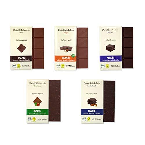 MAKRi Dattel Schokolade – Probierpaket Klein | Mit Datteln gesüßt | Vegan & Bio | Ohne raffinierten Zucker (5x 85g)