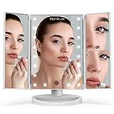 HOMEVER Miroir Maquillage avec 21 lumières LED, Double Alimentation Miroirs grossissants éclairés par LED 2X/ 3X (Blanc)