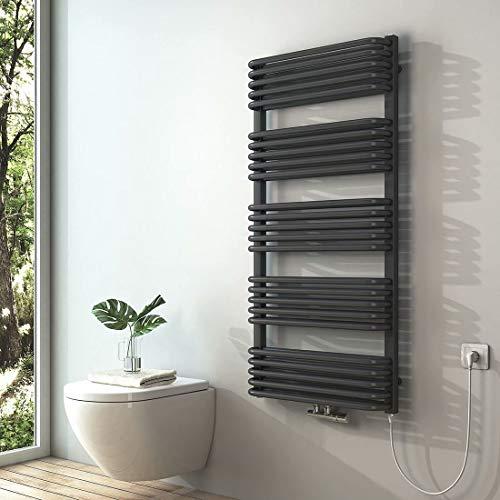 S'AFIELINA Handtuchwärmer Antrazit Handtuchtrockner Elektrisch Mittelanschluss Warmwasser oder Elektrisch mit Heizstab Badheizkörper 1269 x 600 mm, 1000 Watt