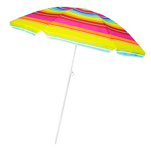 SPRINGOS Strandschirm Regenbogenfarben max. Höhe 160 cm Ø 150 cm Sonnenschutz (150 cm, Bunt)