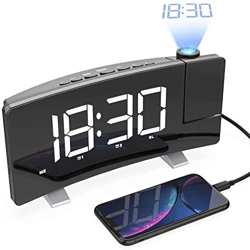MKWEY Projektionswecker, FM-Radiowecker mit Projektion, digitaler LED-Wecker, Reisewecker, Tischuhr, Projektionsuhr, 5-Zoll-LED-Display, Doppelwecker