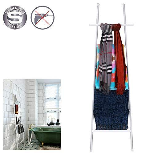 M-TOP decoratieve ladder, handdoekhouder, staand, roestvrij staal, handdoekenladder, vrijstaand, handdoekenrek, badkamer zonder boren, ladderrek met 6 sporten als badhanddoekhouder en kleine kledingbutler