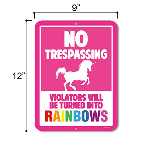 Unicorn Wall Decor, No Trespassing Signs, Violators Will Be Turned Into Rainbows, 9 x 12 Inch Metal Aluminum Novelty Sign Decor Photo #2