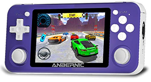 MJKJ RG351P Handheld Game Console , 64G TF Card 2500 Classic Games Opening Linux Tony System RK3326 Chip 3.5 Inch IPS Screen (Purple)