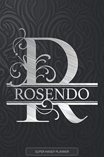 Rosendo: Monogram Silver Letter R The Rosendo Name - Rosendo Name Custom Gift Planner Calendar Notebook Journal