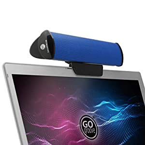 GOgroove SonaVERSE USB Speakers for Laptop Computer - USB Powered Mini Sound Bar with Clip-On Portable External Speaker Design for Monitor, One Cable for Digital Audio Input and Power (Blue)