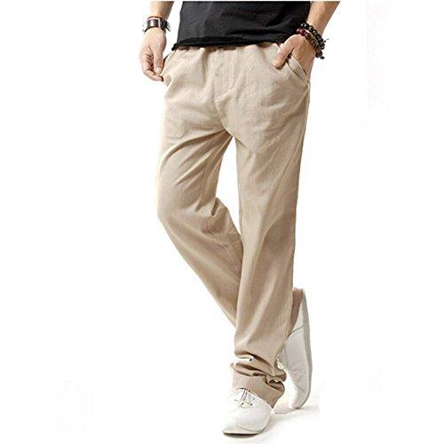HOEREV Men Casual Beach Trousers linen  Summer Pants, Beige, Medium