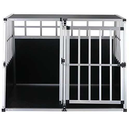 Cadoca Transportín Talla XXL para Perros y Mascotas Caja Jaula de Transporte Viaje de Aluminio para Coche avión