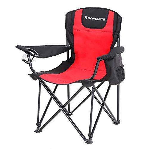 SONGMICS Campingstuhl, klappbar, Klappstuhl mit hoher Rückenlehne, mit Flaschenhalter und Kühltasche, komfortabel, Robustes Gestell, bis 150 kg belastbar, Outdoor Stuhl, rot und schwarz GCB10RB