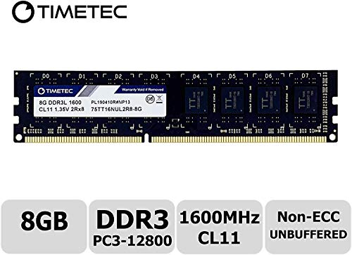 Timetec Hynix IC 8GB DDR3L 1600MHz PC3-12800 Unbuffered Non-ECC 1.35V CL11 2Rx8 Dual Rank 240 Pin UDIMM Desktop Arbeitsspeicher Module Upgrade (8GB)