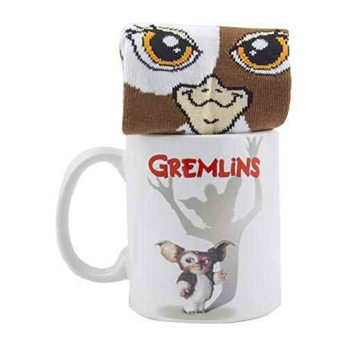 Paladone Gremlins Mug and Socks Classic Horror | Gift Set for Birthdays and Christmas, White, 300ml