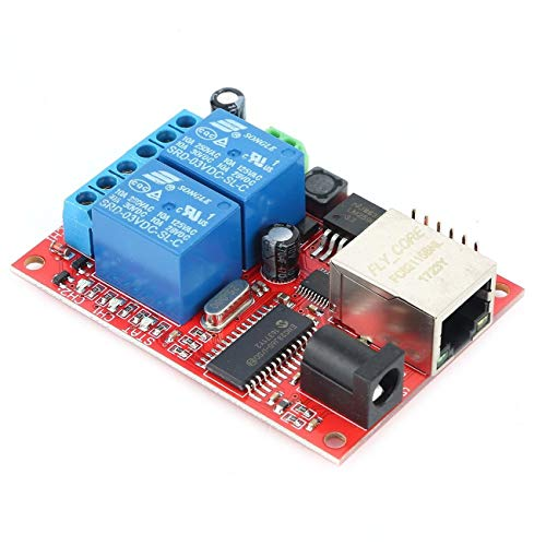 fengzong Verzögerungsschalter für LAN-Ethernet-2-Wege-Relaisplatine TCP/UDP-Controller-Modul Web-Server Elektronisches Kit Leiterplatte (rot mit blauem und Verzögerungsschalter)