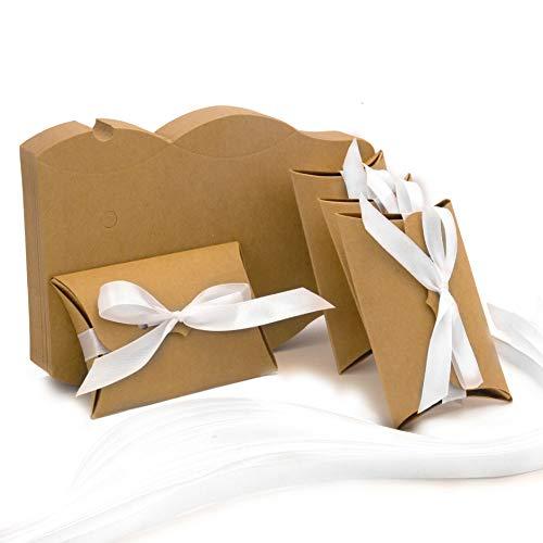PATOO 50pz Scatoline Portaconfetti per Matrimonio, Battesimo, Comunione. Scatole in cartone Kraft con Nastro Bianco