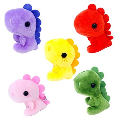 STOBOK 5 piezas de peluche de dinosaurio llavero animales de peluche juguetes mochila monedero coche teléfono llavero ornamento colgante