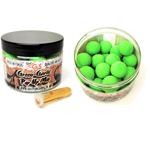Bait for Carps - Cebo desplegable Green-Garlic Power Up [50 gramos] Premium 15 mm Pop Up Boilie I Accesorios para carpas I Cebo I Efecto de atracción: 12-16 horas