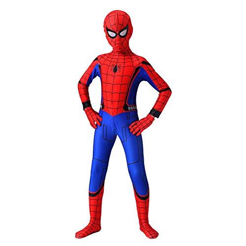 GUOHANG Niño Spiderman Traje Unisex Adultos Niños Superhéroe Spiderman Cosplay Traje Traje Lycra Spandex Zentai Estilo 3D Estilo Mono Kodyuit De Halloween Actividades Disfraces,G,100~110CM
