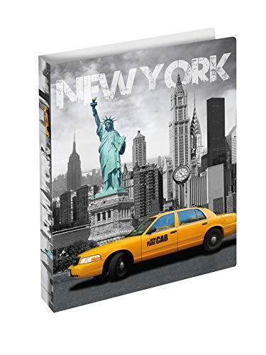 HERMA 19132 Ringbuch DIN A4 Städte New York, 2 Ringe, 25 mm breit, schmaler bedruckter Motiv Ringbuchordner aus stabilem Kunststoff, 1 Ringbuchmappe