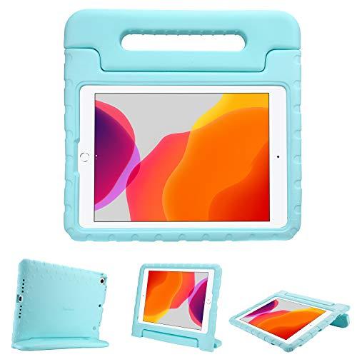 ProCase Kinder Hülle mit Kickstand für iPad 10.2 2019/ iPad Pro 10.5/ iPad Air 3, Ultra Leicht Stoßfest Robust Kind Schutzhülle Umwandelbar Handgriff Handle Standfunktion –Aqua