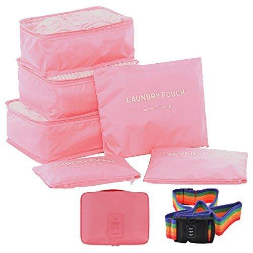トラベルポーチ アレンジ ケース スーツケース ランドリー ポーチ 6点 + ポーチ1点 + スーツケースベルト セット 4色 から選べる   旅行 出張 収納 小分け バッグインバッグ 衣類 整理整頓 レインボー ダイヤルロック (ピンク)