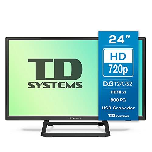 TD Systems K24DLX10H - Televisores 24 Pulgadas HD, HDMI, VGA USB Grabador Reproductor, DVB-T2/C/S2 Modo Hotel. Televisiones