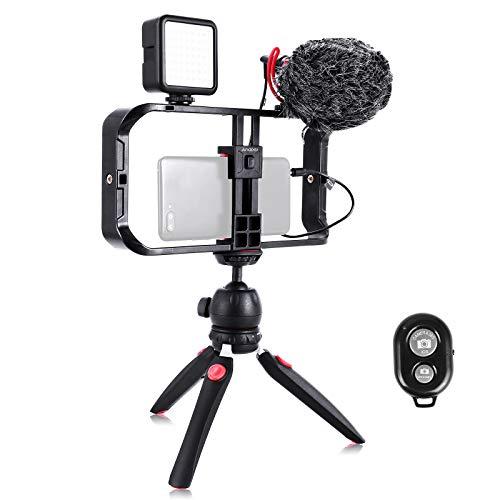 Smartphone Video Rig, Cassa per Cinematografia, Stabilizzatore per Smartphone Video, Treppiedi e Impugnatura per video Vlog Streaming live