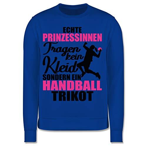 Sport Kind - Echte Prinzessinnen tragen kein Kleid sondern EIN Handball Trikot - schwarz/Fuchsia - 152 (12/13 Jahre) - Royalblau - Pullover - JH030K - Kinder Pullover