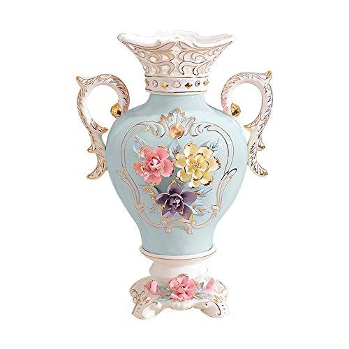ufengke Vintage Europeo Jarrones de Cerámica,Flores 3D Florero de Porcelana Binaural,Jarrones...