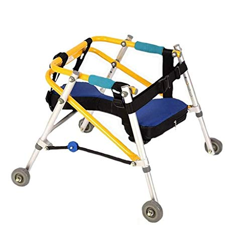 Tcaijing Walker Baja Niño Limb Rehabilitación Ayudas de Entrenamiento del Soporte Ajustable Andador Plegable de 4 Ruedas direccionales Pasamanos con amortiguación (Size : XL)