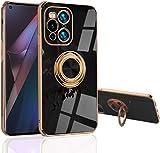 Funda para OPPO Find X3 Pro 5G - Ajustado [Soporte Anillo Giratorio] [Lujoso Color Dorado Metálico] Cubierta de Silicona Suave de TPU Protección Compatible con (Find X3 Pro 5G, Negro)