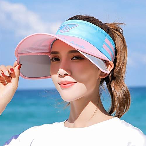 TJLJFTILTIR De ala Ancha Sombrero para el Sol del Verano Ajustable Gorra para el Sol Damas retráctil Sun Sombrero vacío Mejor Peso Ligero de Verano del salacot Ciclo al Aire Libre Anti-UV,H,56~60CM