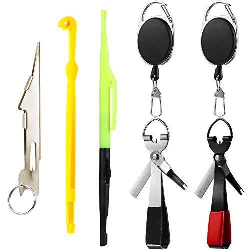 Angel Knoten Binde Werkzeuge 4-in-1 Mono Schnur Schneider mit Angler Zinger Retraktor, Doppelend Haken Disgorger, Angelhaken Entferner Disgorger Kit für Fischen Angler Zubehör