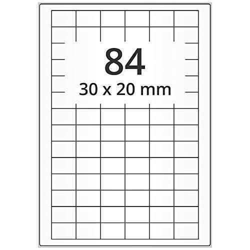 Labelident Laseretiketten selbstklebend auf DIN A4 Bogen - 30 x 20 mm - 8400 Universal Etiketten weiß, matt, 100 Blatt Papier Laserdrucker Etiketten